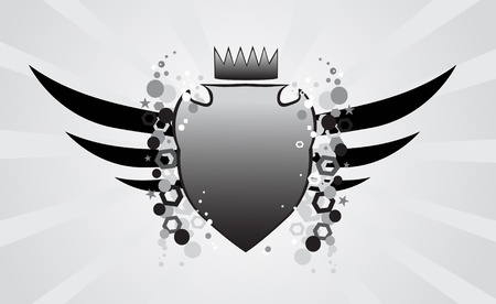Winged shield Vector