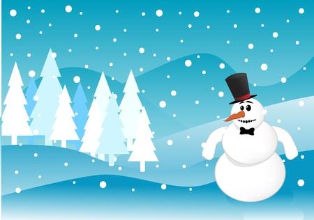 Snowman Christmas winter scene Stock Vector - 8973740