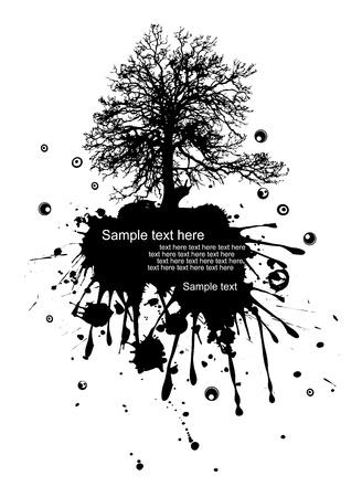 ink illustration: Vector illustration of a modern grunge nature