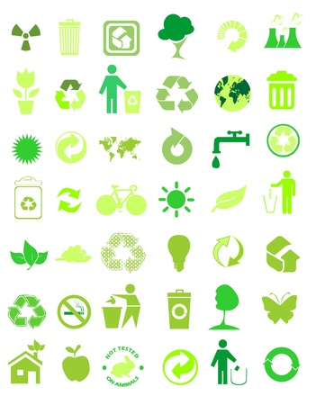 antipollution: set of 42 environmental icons