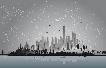 city in the winter night Vector