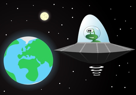 extraterrestrial: vector illustration of an alien in a spaceship