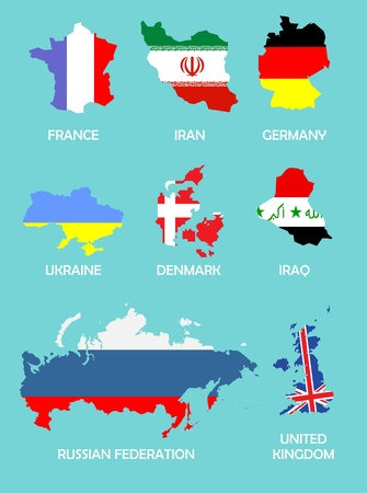 iran: outline maps of the countries with national flags