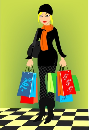 heals: shopping lady Illustration