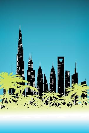 Summer Palm City Stock Vector - 8973983