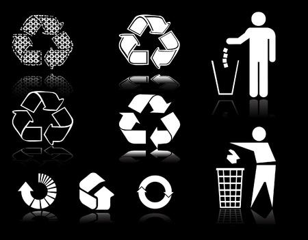 icono contaminacion: signos de recylce   Vectores