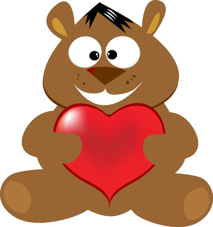 Cute bear with heart Stock Vector - 8971759