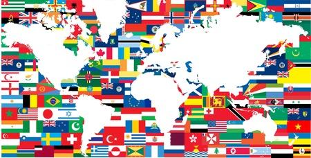 geografia: banderas nacionales y el mapa del mundo