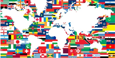 national flags and world map