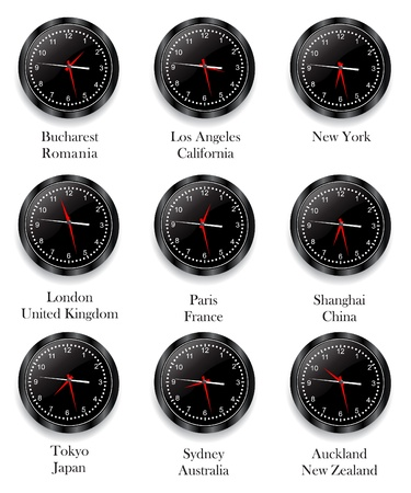 Clock with different Time Zone Stock Vector - 8973908