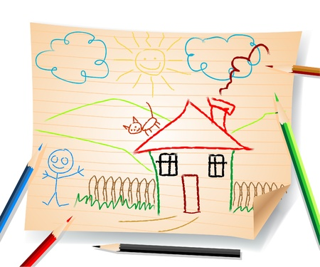 kids drawing  Stock Vector - 8973919