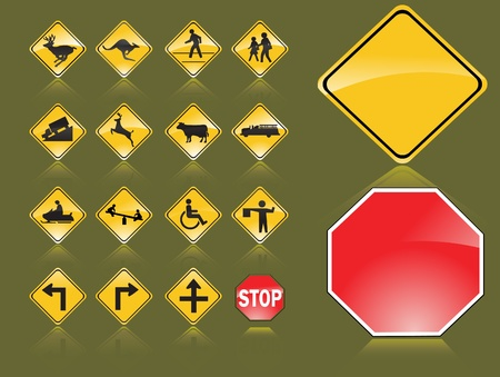 trafic stop: Road signs Illustration