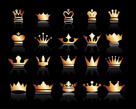 Gold crown icons set. Illustration vector Illustration