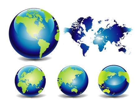 globo terraqueo: Mapa y Globo de vectores