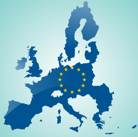 european union: Map of European Union with flag of EU