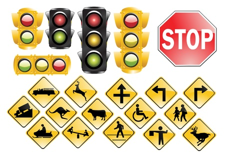 Trafic Lights and signs Vector