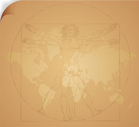 Leonardo da Vincis vitruvian man in vector Vector