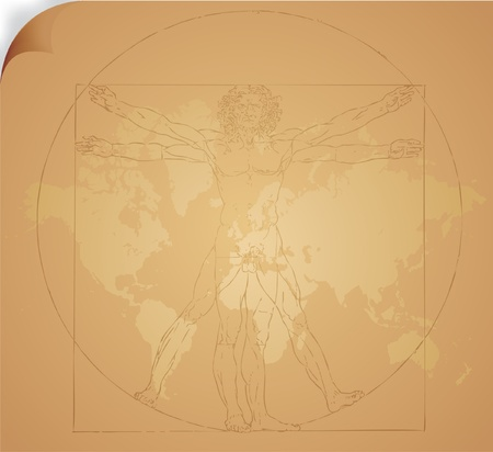 Leonardo da Vinci's vitruvian man in vector Stock Vector - 8974354