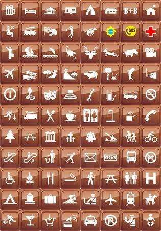 hospedaje: conjunto de iconos de lugares tur�sticos