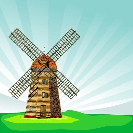 the netherlands: Windmolen   Stock Illustratie