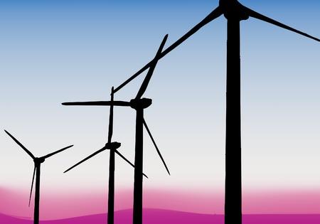 energy production: vector wind turbines Illustration