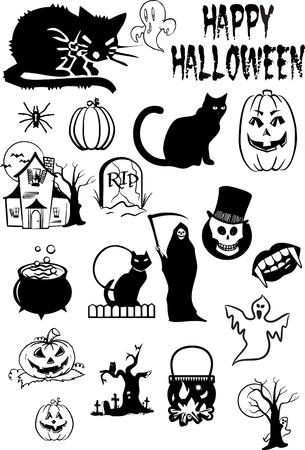 horror castle: Siluetas de Halloween