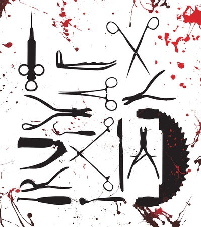 surgical tools: bloody surgery tools