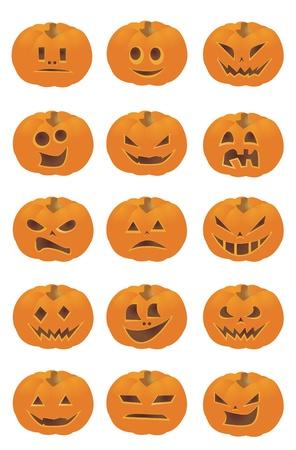 Halloween Pumpkin Smileys Stock Vector - 8974255