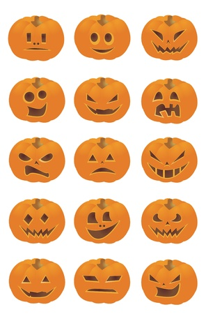 Halloween Pumpkin Smileys  Vector