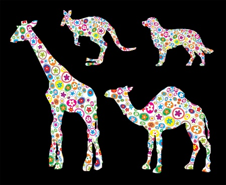 giraffe silhouette: Vector illustration of animal shape made up a lot of small flower