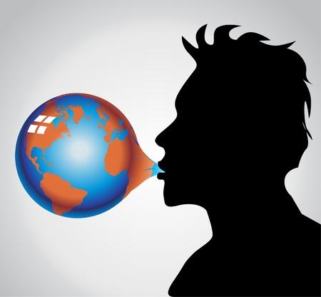 soplar: Tierra de burbuja de goma de mascar Vectores