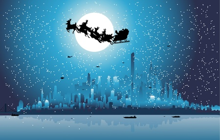 Santa Claus riding his sleigh over a city  Vector