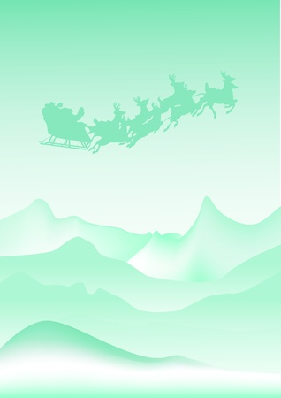 Silhouette Illustration of Flying Santa and Christmas Reindeer Vector