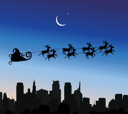 Santa Claus riding his sleigh over a city Vector