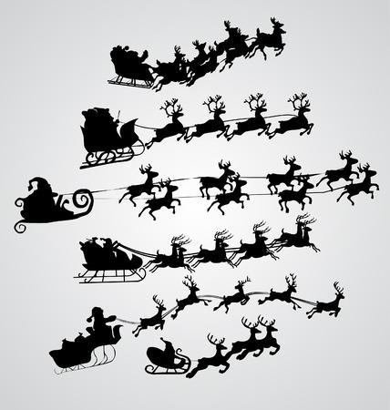 reindeer silhouette: Silhouette Illustration of Flying Santa and Christmas Reindeer Illustration