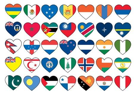 heart flags set  Vector