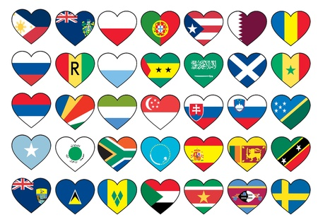 heart flags set  Vector