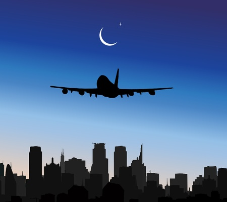 airplane flying in sky  Stock Vector - 8974218