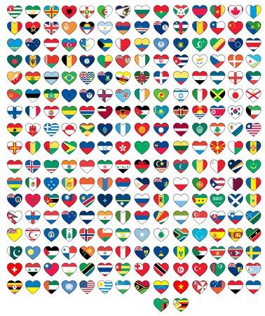 south africa flag: heart flags set