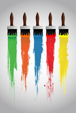 Paint brush and paint roller Vector