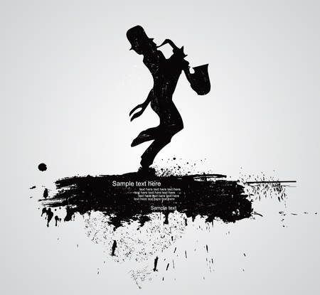silhouette of saxophone player Vector