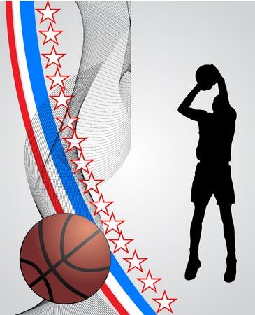 basketball net: el jugador de baloncesto Vectores