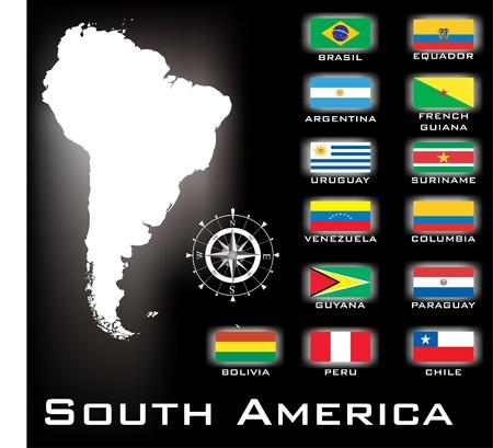 bandera bolivia: Am�rica del Sur mapa Vectores