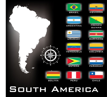 south of the border: South America map