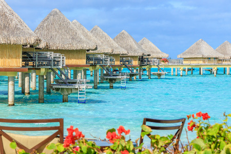 bungalow: overwater bungalow with chairs and flowers on the beach