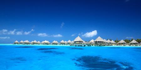 polynesia: Overwater bungalow in French Polynesia Stock Photo