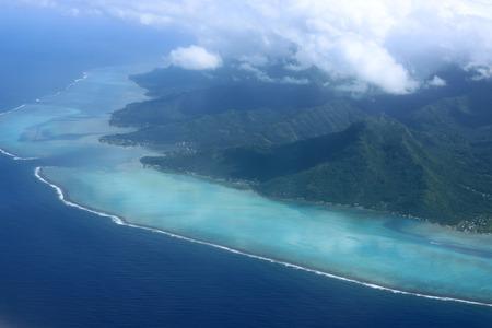 polynesia: Aerial view of Moorea, French Polynesia
