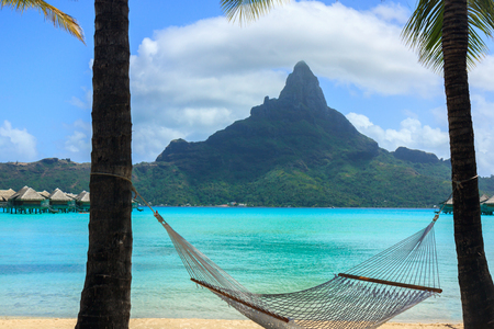 otemanu: View of the mount in Bora Bora with a hammock