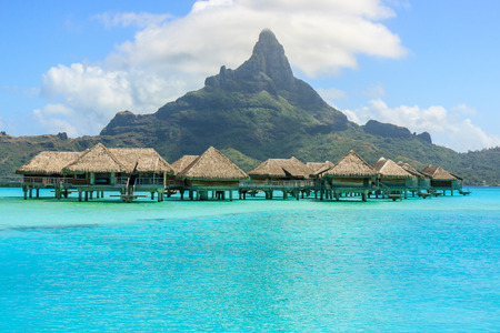 overwater bungalow with mont otemanu in Bora Bora