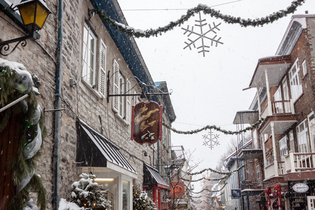 petit: Petit Champlain street in Winter Stock Photo